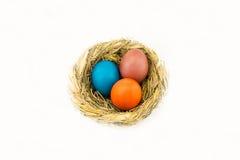Ägg i ett rede av vide- sugrör på en vit bakgrund royaltyfri fotografi