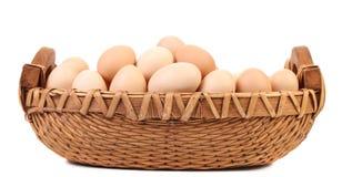 Ägg i gnäggar den bruna korgen Fotografering för Bildbyråer