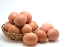 Ägg i korg arkivfoto