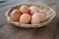 Ägg i korgen Royaltyfri Foto