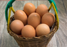 Ägg i korgen Royaltyfri Fotografi