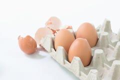 Ägg i packen med äggskalet arkivfoton