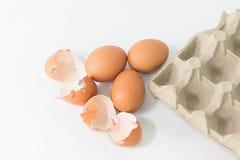 Ägg i packen med äggskalet arkivbilder