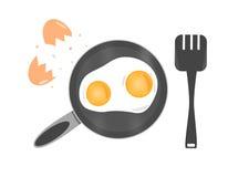 Ägg i panna Royaltyfria Foton