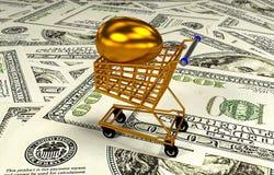 Ägg i shoppingvagnen, illustration 3D Arkivfoton