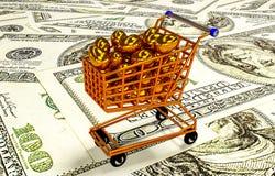 Ägg i shoppingvagnen, illustration 3D Arkivbilder