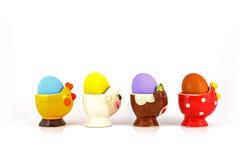 Ägg i utsmyckad äggkopp Fotografering för Bildbyråer