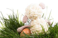 Ägg, knäpp blomma och randig torkduk Royaltyfria Bilder