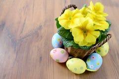 Ägg, knäpp blomma och randig torkduk gul primula i blomkrukor med easter eg. Arkivfoto