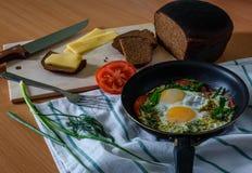 Ägg med örter och tomater stekte i en panna Arkivfoton