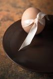 Ägg med bandet på den bruna plattalodlinjen Royaltyfria Bilder
