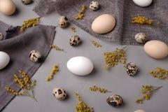 Ägg med blommor och dekorativa beståndsdelar på betong Arkivfoton