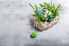 Ägg med blommor på en vit bakgrund easter symboler Arkivfoto