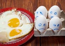 Ägg med den förskräckta framsidan och det stekte ägget royaltyfri bild