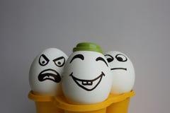 Ägg med en gullig framsida foto Fotografering för Bildbyråer