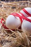 Ägg med ett rött band på höet för easter Arkivbilder