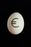 Ägg med valutatecknet av euroet på det Arkivbilder