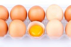 Ägg och äggula i en plast- genomskinlig packe Royaltyfri Foto