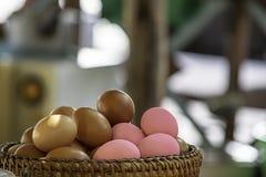 Ägg och bevarat ägg i en vide- korg arkivbild