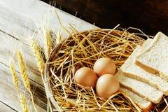 Ägg och bröd i korgen Arkivfoton