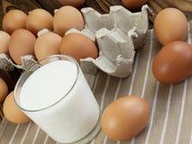 Ägg och ett exponeringsglas av mjölkar Royaltyfri Fotografi