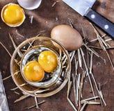 Ägg och ett skal på lantgården Arkivfoton