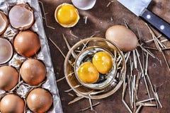 Ägg och ett skal på lantgården Arkivbilder