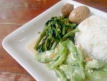 Ägg och griskött i grodor för brun sås, uppståndelse Fried Swamp Cabbage och uppståndelse stekte zucchinin med ägget med ris thai Royaltyfria Foton