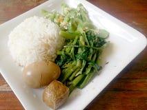 Ägg och griskött i grodor för brun sås, uppståndelse Fried Swamp Cabbage och uppståndelse stekte zucchinin med ägget med ris thai Arkivbild