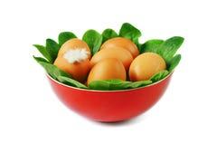 Ägg och spenat i bunken Royaltyfria Foton