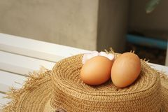 Ägg på en bakgrund av den bruna hatten Royaltyfri Foto