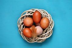 Ägg på en blå bakgrund Royaltyfri Fotografi