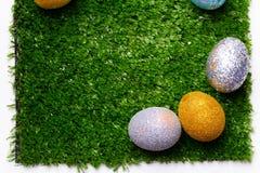 Ägg på gräset arkivbilder