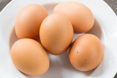 Ägg på maträtt Arkivbild