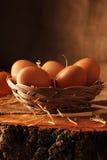 Ägg på trä arkivbild
