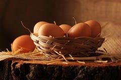 Ägg på trä arkivfoto