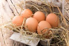 Ägg på träbakgrund Royaltyfri Bild