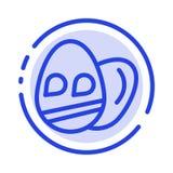 Ägg påsk, blå prickig linje linje symbol för ferie stock illustrationer