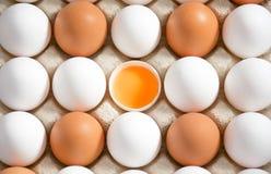 Ägg paketerar med det vita och bruna ägget och öppnar ägget i mitt, Arkivbilder