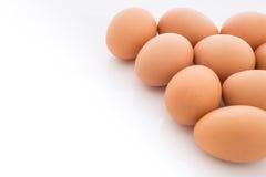 Ägg som är ordnade i hörn, isoleras Fotografering för Bildbyråer