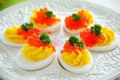 Ägg som är välfyllda med krämig mousse Royaltyfri Fotografi