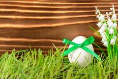 Ägg som dekoreras med det gröna bandet för påsk på gräs Arkivbild