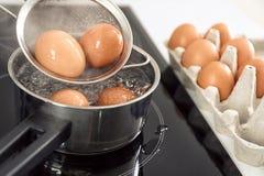 Ägg som kokar i panna, fotografering för bildbyråer
