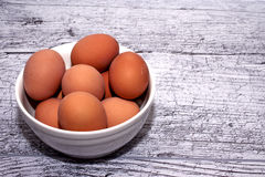 Ägg som lagas mat för påsk, i en vit bunke Arkivbild