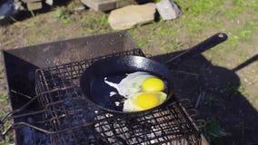 Ägg som lagas mat på en stekpanna i trädgården lager videofilmer