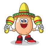 Ägg som spelar maracas och bär en illustration för tecknad film för sombreromaskotvektor stock illustrationer