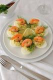 Ägg som stoppas med den kryddiga räkan Royaltyfri Fotografi