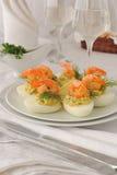 Ägg som stoppas med den kryddiga räkan Royaltyfria Foton