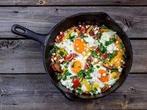 Ägg som tjuvjagas med grönsaker som namnges Fotografering för Bildbyråer