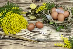 Ägg, stearinljus, rökelse och filialer av en mimosa Royaltyfri Foto
